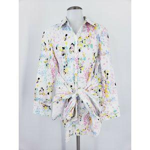 New York & Company Paint Splatter Tie-Front Tunic